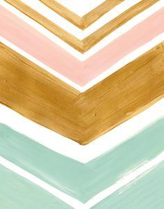 Chevron Art | Mint, Pink and Gold Chevron Print |