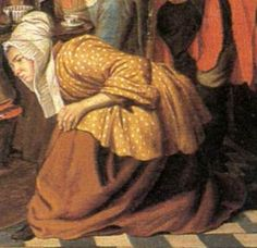 """polka dots. bedjacket. 1750 - 1770. Detail of """"Painter's Studio"""" by Jan Jozef Horemans II (Flemish painter). Women -- Clothing & dress -- 1700-1799 -- Belgium. 18th century Flemish costume. Yellow jacket with white dots. Brown petticoat. White cap with long pleated lappets."""