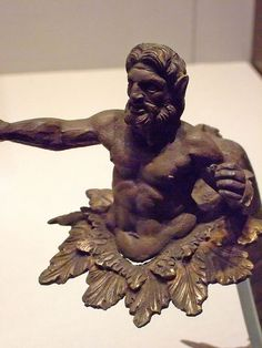 Handle in the shape of the sea god Triton Greek made in Macedonia or Illyria 100-50 BCE Silver and gold
