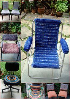 Forro de Cadeiras em Crochet de Fio de Malha ou Trapilhos (Reciclagem).   helenacc.blogspot.com.br