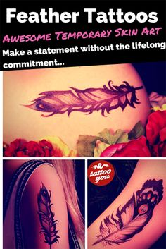 Want to try a beautiful tattoo with zero commitment? You can buy five of these fab #feather #tattoos from https://www.tattooyou.com/ for $14. Where would you put yours?
