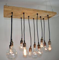Reclaimed Walnut Barnwood Chandelier with Edison bulbs