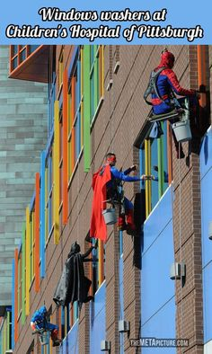 Window washing a children's hospital. I bet this made those kids day! random acts of kindness go a long way (: