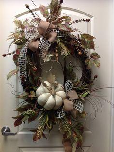 Cream burlap  pumpkin. Wreath