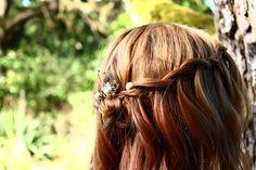 Pretty way to wear the Pearl & Black Diamond Hairpin from www.lolaandi.co.uk