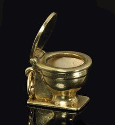 Vintage 14K Gold Movable Charm for Bracelet - Toilet Bowl, via Etsy.