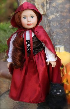 American Girl Doll Halloween Costume, Ruby Riding Hood, worn by 18 inch Doll, Lyric from Harmony Club Dolls http://www.harmonyclubdolls.com
