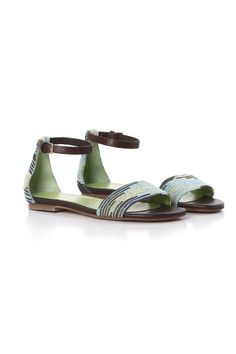 #MMissoni Accessories | Cyber lurex Knit Flat Sandal in sky blue, pistacchio green and brown tones | Summer 2014 Collection