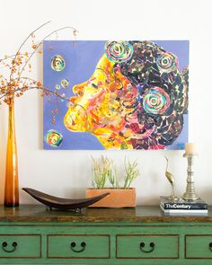 Justina Blakeney Interiors - anyone know who this artist is?  Love the whole look!