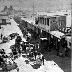 Image detail for -... 1871 Wagon trains, San Francisco Street at Plaza, Santa Fe, New Mexico