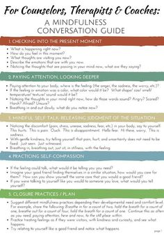 Mindfulness Conversation Guide for Counselors, Therapists, and Coaches to Use in Sessions with Clients.