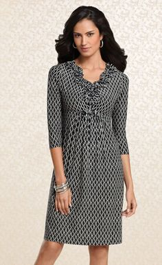 Dramatic Details: #Soma Ruffle Dress in Festive Print #SomaIntimates #fallfashion #black #white