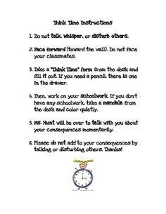 Think Time Timeout Instructions and Behavior Form