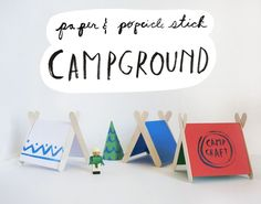 paper and popsicle stick campground. kids crafts camping, craft camp, camp crafts, paper, popsicl stick, kid crafts, camping tent craft