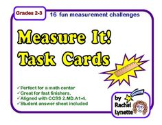 FREE Measure It! Task Cards for Grades 2-3. CCSS Aligned.