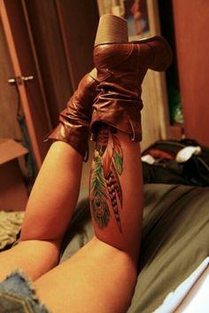 peacock #feather #tattoo on leg