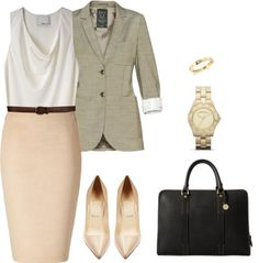 Add a cardigan or jacket over a sleeveless top.  Structured bags are good choices.