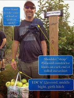 #Paracordist Creations LLC: Field expedient #Paracord Apple bag shoulder strap #preppertalk #Preppers #survivalist #bushcraft #paracord #550cord #paracordist #preparedness #camping #hiking