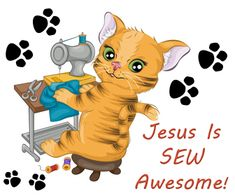 Church House Collection Blog: Jesus Is SEW Awesome Cutout Printable Craft For Small Kids- Kitty Cat on Sewing Machine Activity For Children #Sunday #school #crafts #cat #sewing #cutouts #printables #free #Bible #Jesus #biblecrafts