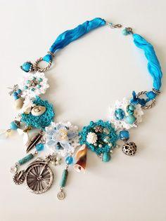 FREE SHIPPING WhiteBlue Crochet Necklace by ANATOLIANDESIGN01, $59.50