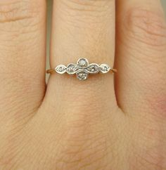 Antique Diamond Ring, Victorian Diamond Ring, 18k Gold & Platinum Engagement Wedding Ring Approx. Size US 5.75. $268.00, via Etsy.