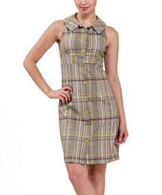 Another great find on #zulily! Tan & Lime Plaid Button-Up Dress by Amelia #zulilyfinds