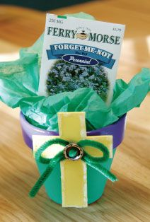 http://www.childrensministry.com/articles/forget-me-not-pot  Kids can make these delightful Easter gifts to remind people of Jesus' gift of salvation.