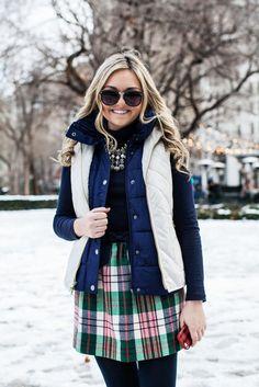 Puffer vest turtleneck plaid skirt