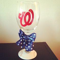 Nationals Baseball Wine Glass