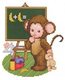 Monkey Baby Goes to School Cross Stitch Pattern