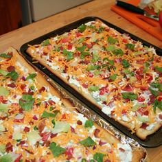 7 layer salad bars....yum! Great to serve as a party app or shower finger food!  Broccoli for the peas please