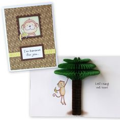 Inky Antics Monkey Palm Tree HoneyPop Card