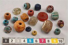 A variety of Viking era beads.  From the Historiska Museet in Stockholm