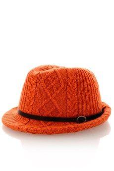 Orange Knitted Fedora Hat