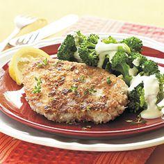 asiago-crusted pork chops