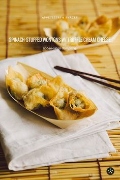 Spinach-Stuffed Wontons with Truffle Cream Cheese