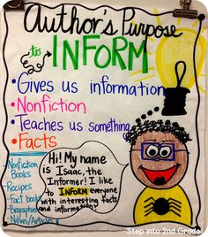 Author's purpose anchor charts ~ Awesome!