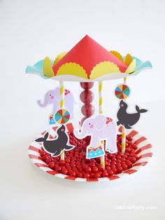 Project Nursery - DIY Carousel Candy Centerpiece by Bird's Party