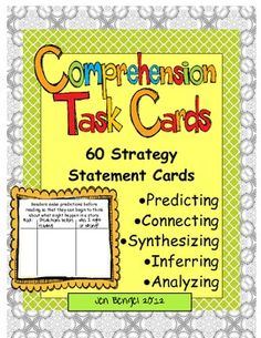 Included in this resource are 60 comprehension task cards for predicting, connecting, synthesizing, inferring, and analyzing.  Teach your students to think deeper by going beyond simply retelling and summarizing.  There are 15 CCSS for reading addressed in these cards.  They are available in color and black & white.  71 pages with suggestions for multiple uses in the classroom!