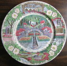 Decorative Dishes - Transferware Green Pink Blue Alabama Gardens Vintage Souvenir Plate England, $34.99 (http://www.decorativedishes.net/transferware-green-pink-blue-alabama-gardens-vintage-souvenir-plate-england/) souvenir plate, plate england, vintag souvenir, pink blue