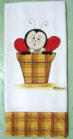 pano de prato joaninha