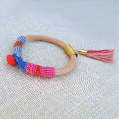 leather crochet and pebble pendent bracelet by kjoo on Etsy, $55.00