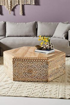 Anthropologie Handcarved Albaron Coffee Table