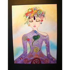 Spiritual Yoga Chakra Goddess Colorful Pastel drawing