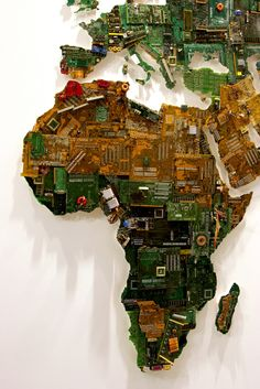 Map Made from Recycled Computers by Susan Stockwell