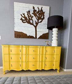 grey and yellow - perfect! Maybe yellow entry table on darker grey wall : )