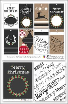 Free printable holiday chalkboard tags, wrapping paper and sign that you can write on with chalk.  The Creativity Exchange exclusively for LD Products.