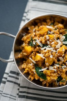 Farro risotto with acorn squash and kale (to make vegan, use a vegan butter & omit the cheese or use a vegan alternative.)