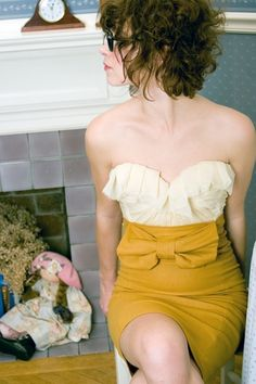 Love this mustard colored skirt and cream top