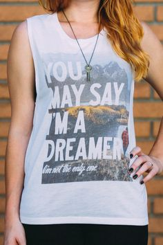 """""""You may say I'm a dreamer - I'm not the only one!"""" - #Sevenly extended the availability of this limited edition shirt. Hurry up & don't miss out.That's the perfect fall outfit right there! Cozy, comfy & with an inspiring message - this shirt's only available for a limited time, so if you like it - grab it!"""